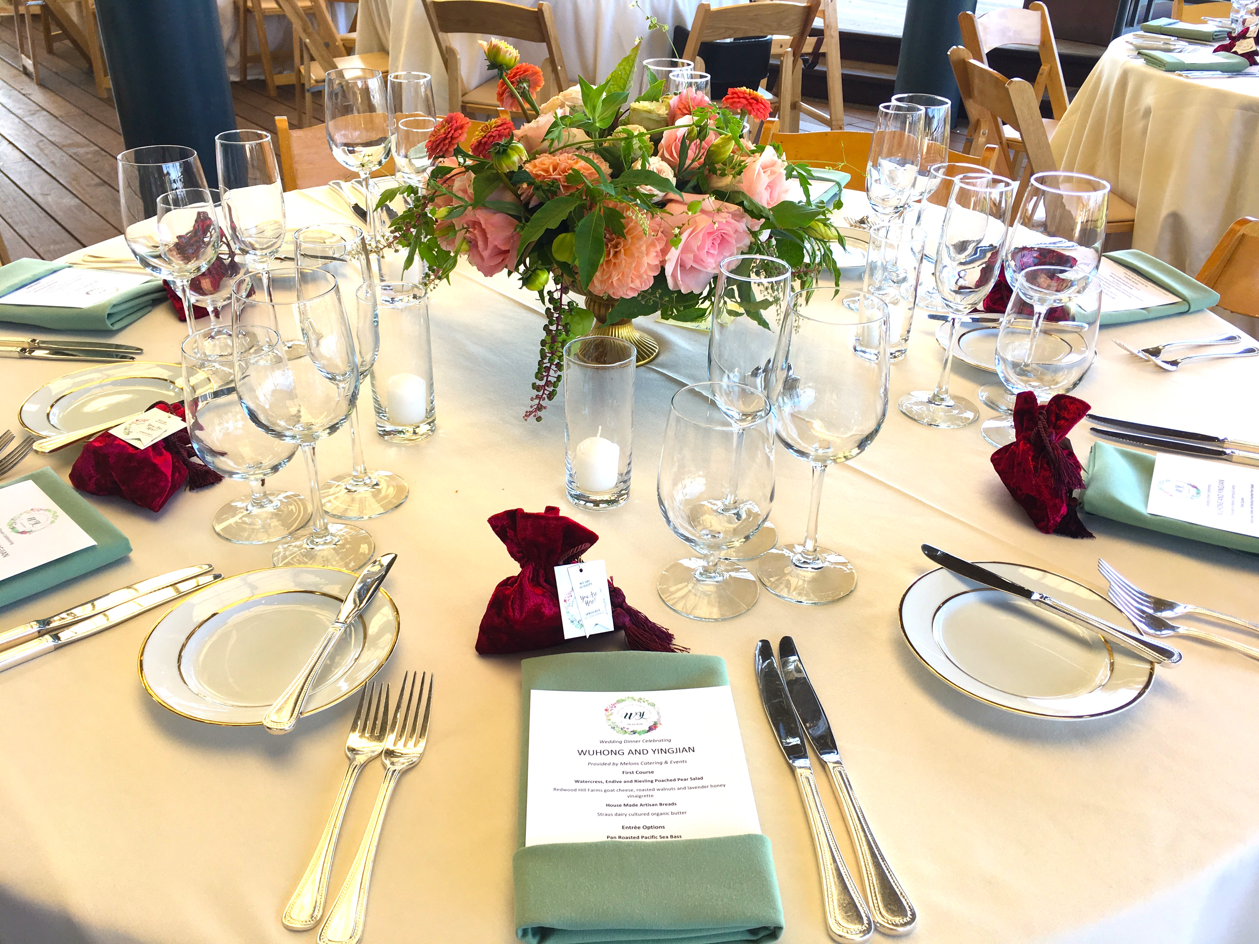 the melons catering team was setting up tables and chairs and preparing food in the kitchen florist katharina stuart delivered gorgeous flowers and began